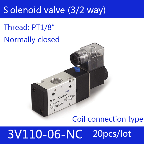 20PCS Free shipping good quality 3 port 2 position Solenoid Valve 3V110-06-NC normally closed, DC24v,DC12V,AC110V,AC220V, 3/2way 5pcs free shipping pneumatic valve solenoid valve 3v410 15 nc normally closed dc24v ac220v 1 2 3 port 2 position 3 2 way