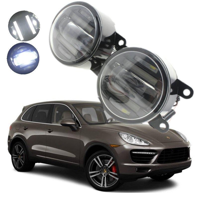 For Porsche Cayenne 2011 2016 2in1 18W LED Fog Lights White Cut Line Lens DRL Daytime