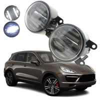 For Porsche Cayenne 2011-2016 2in1 18W LED Fog Lights White Cut-Line Lens DRL Daytime Running Lights Car-Styling