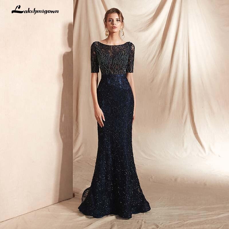 Navy Blue Evening Dresses Long Formal Mermaid Evening Gowns Women Scoop Beading Women Evening Dress vestidos