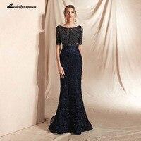 Темно синие вечерние платья Длинные Формальные Бальные платья русалки для женщин совок бисером женское вечернее Платье vestidos de fiesta платье