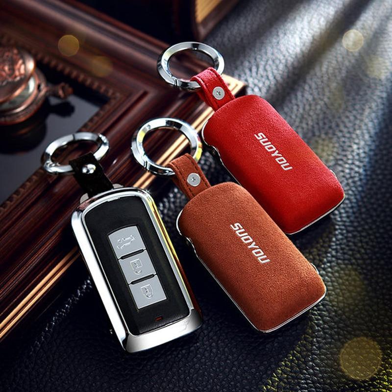 Leather Remote Key Case Fit For Mitsubishi Lancer EX ASX Outlander 2+1 Buttons