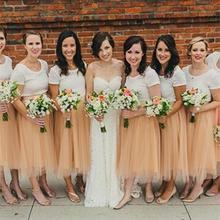 2015 Two Piece Bridesmaid Dresses Lace Organza A Line Tea-Length Vestido De Festa Robe Demoiselle D'honneur Bridesmaid Dress