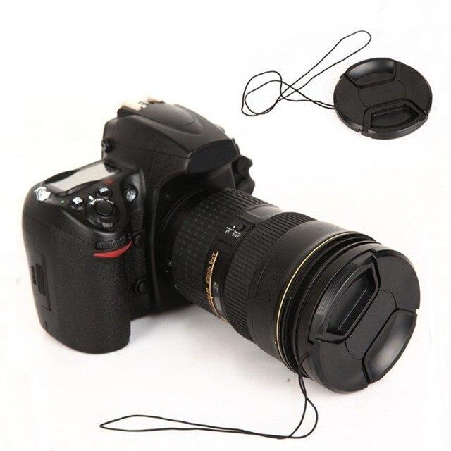 40.5mm 52mm 55mm 58mm 62mm 67mm 72mm 77mm 82mm Merkezi Pinch snap-on kapatma başlığı Withoutlogo + Halat Canon Sony Nikon Lens