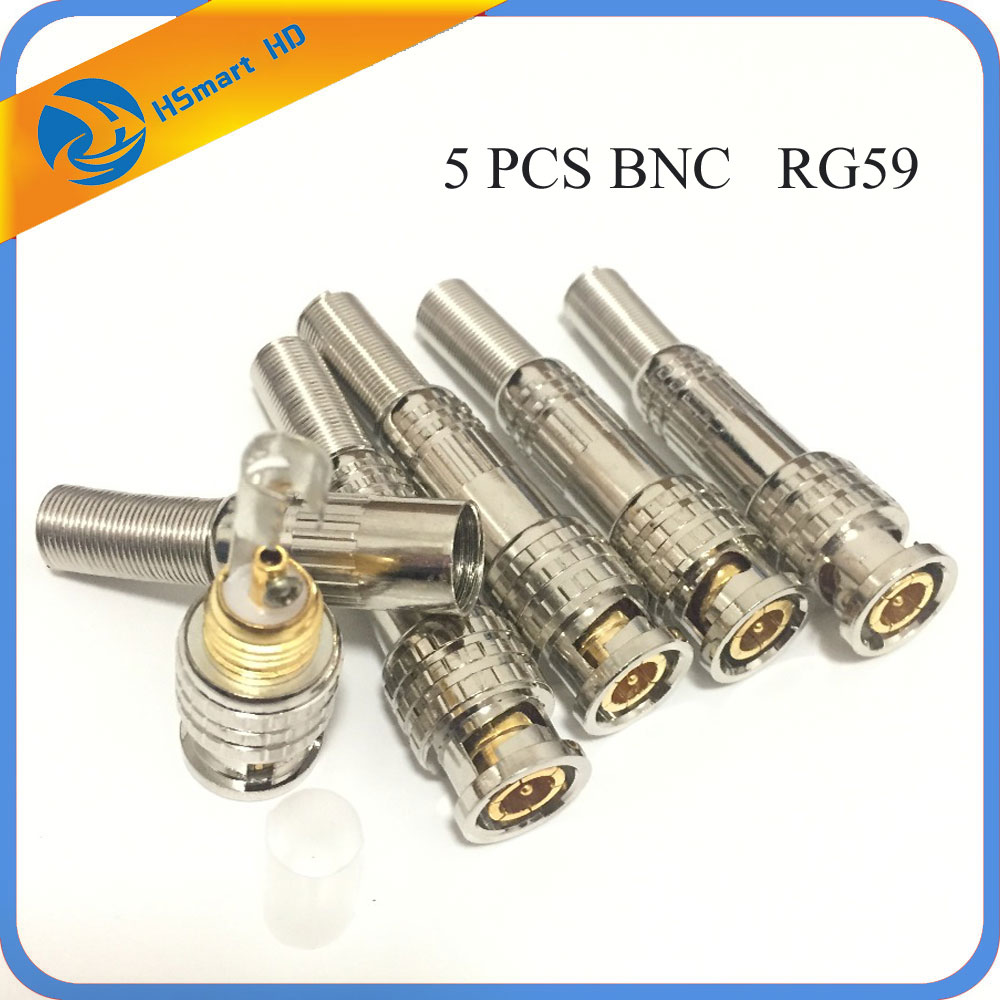 5PCS BNC Male Compression CONNECTOR To Coaxial Video RG59 Cable For Security CCTV Analog IR HD Camera DVR Systems