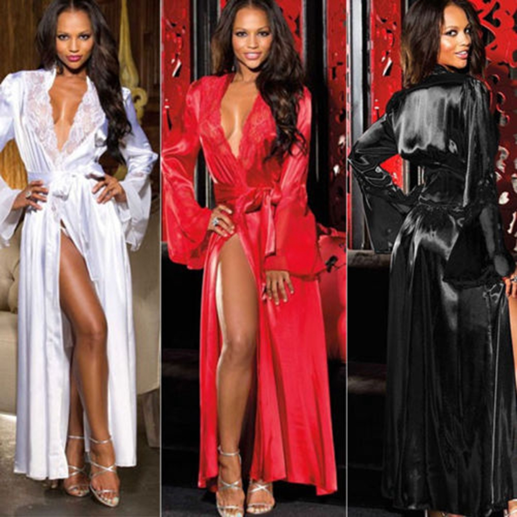 Ladies Long Sleeve Deep V Neck Sexy Long Kimono Dressing Gown Bath Robe Nightgowns Nightdress Black White Red