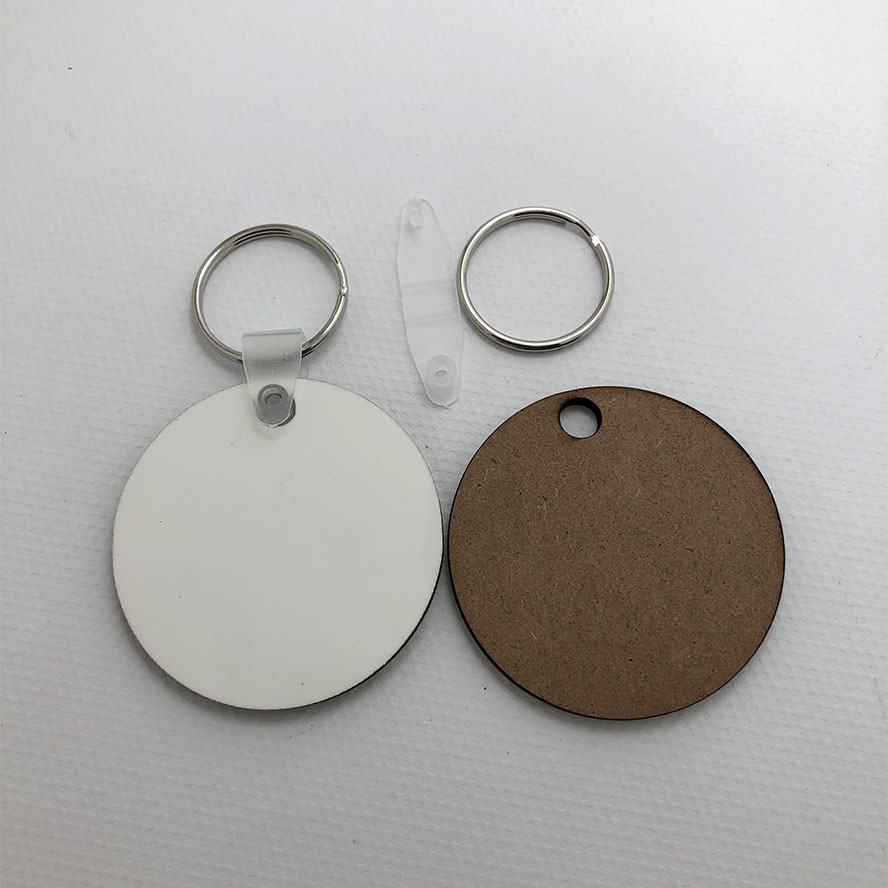 Wholesale 100pcs MDF Key Chain Sublimation Blank Wood Key Tags For Heat Press Transfer Photo Logo