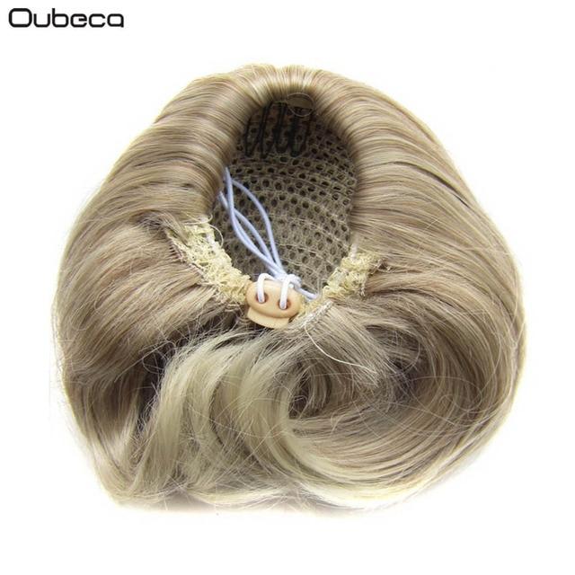 0d7be36344d00 OUBECA Retas das Mulheres Rosquinha Chignon Clip Em Pães de Cabelo Elástico  Com Cordão Curto Rabo