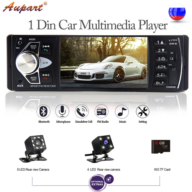 Car radio stereo 4 inch 1 din HD display auto audio general multimedia mp4 mp5 player vehicle bluetooth rear view camera