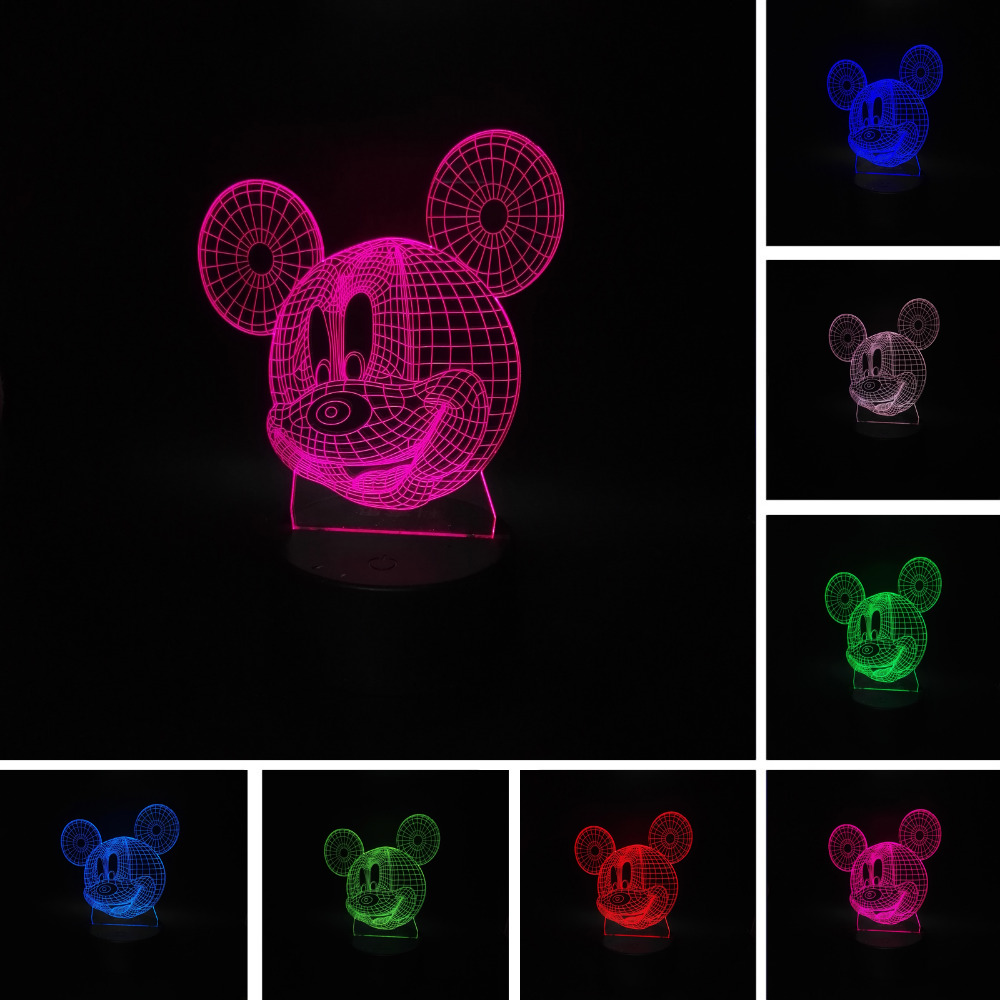 LED Night Light Cartoon Mice Mouse LED Lamp Novelty Night Light 3D illusion Lamp Birthday Party Christmas Child Lighting Gifts colorful waterdrop cartoon ombre led night light
