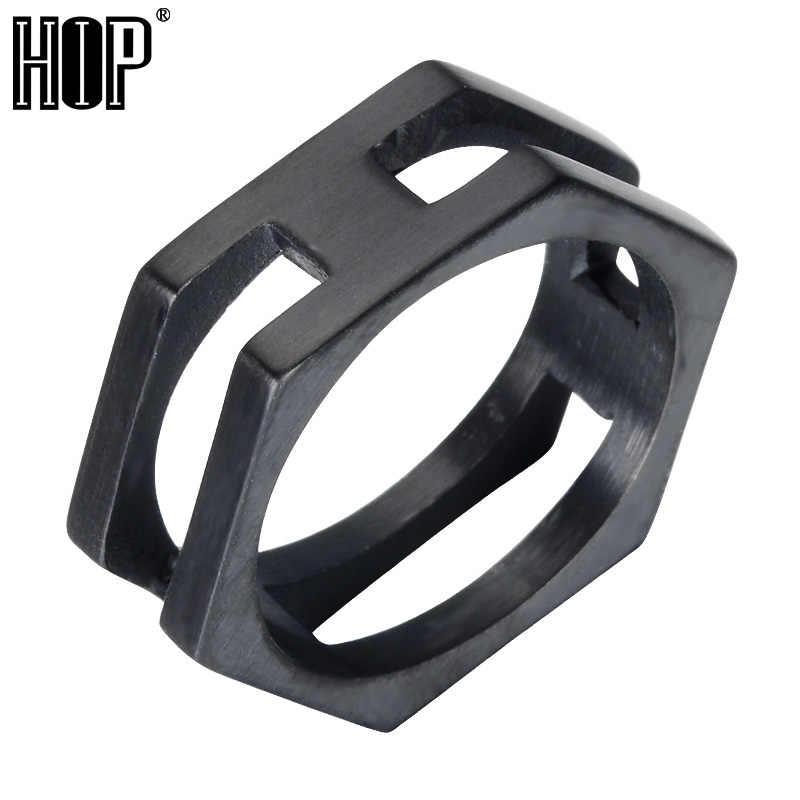 HIP Punk Gold สีดำสีไทเทเนียมสแตนเลสรูปทรงเรขาคณิต Charm Hexagonal แหวนผู้ชายเครื่องประดับ