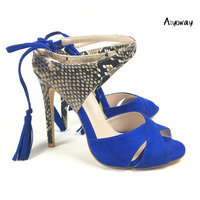 Aiyoway Women Shoes Spring Summer High Heels Sandals Snakeskin Pattern Ankle Cross Strap Lace Up Blue Tassels 2019