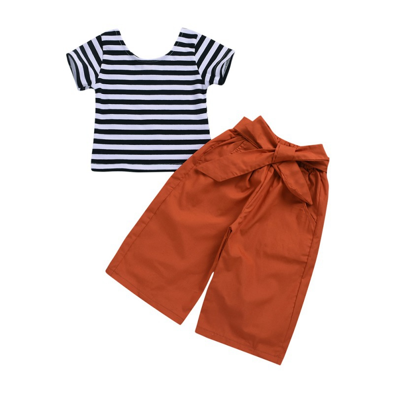 Kids Clothes Set Girl Short Sleeve Striped Tank Top+Lose Pant Fashionable Baby Girl Clothes Set Summer mattress