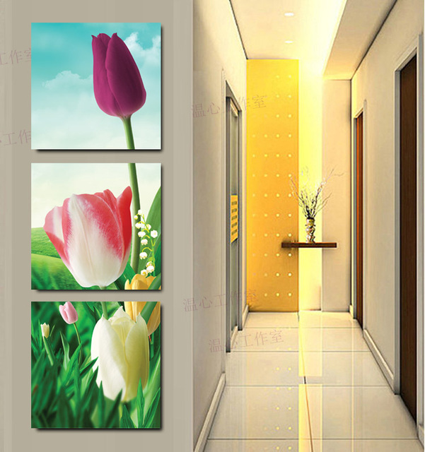 3 panels Canvas tulips Painting Oil style painting wall pictures ...