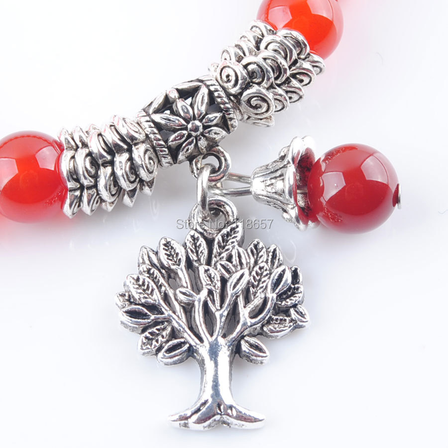 YOWOST Natural Red Agates Gem Stone Bracelet Mala Beads Tree Of Life Charms Meditation Ethnic For Women Jewelry IK3215 in Strand Bracelets from Jewelry Accessories