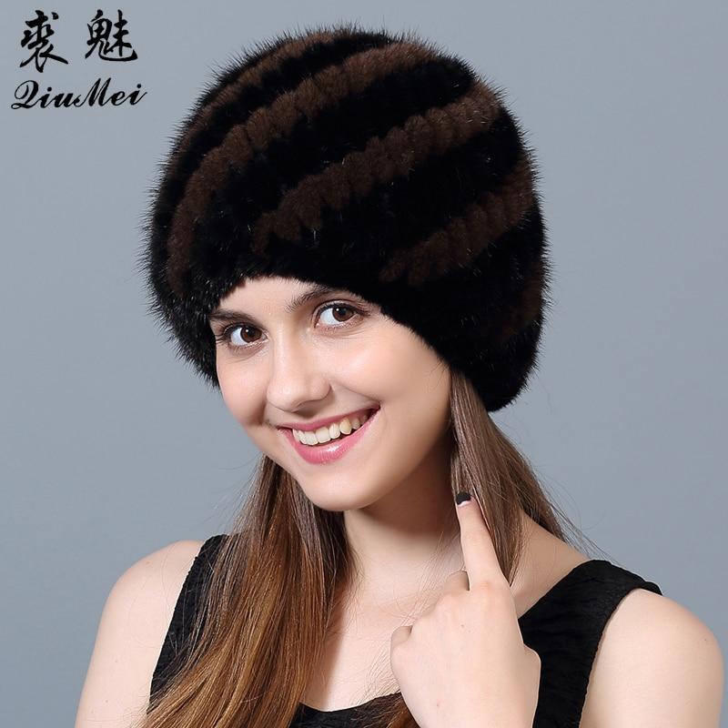 QiuMei Női téli papucsok Valódi minimális szőrme sapka Csíkos - Ruházati kiegészítők