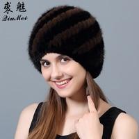 QiuMei Women Winter Beanies Real Mink Fur Hat Striped Knitted Caps Female Russian Hat Women's Fur Warm Lining Beanies Hat 2018