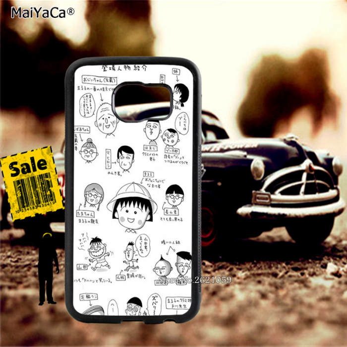 Chibi maruko chan soft TPU edge cell phone cases for samsung s6 edge plus s7 edge s8 s9 plus lite e note8 note9 cover case in Half wrapped Cases from Cellphones Telecommunications