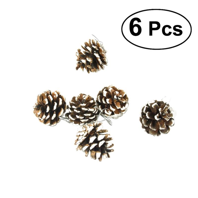 6pcs 6.5cm Christmas Pine Cones with String Wood Pinecone Christmas Tree Decoration Crafts for Home Ornament