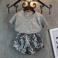 Nueva llegada del verano de fashional ronda dots camiseta + brillantes pantalones de la muchacha ropa fresca juego determinado de la muchacha