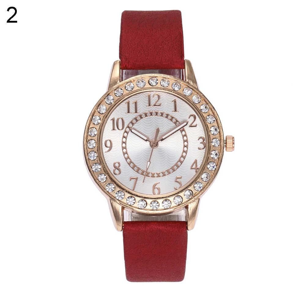 Полный горный хрусталь ободок Искусственная кожа группа Для женщин кварцевые Мода наручные часы подарок арабскими цифрами маркеры zegarek damski