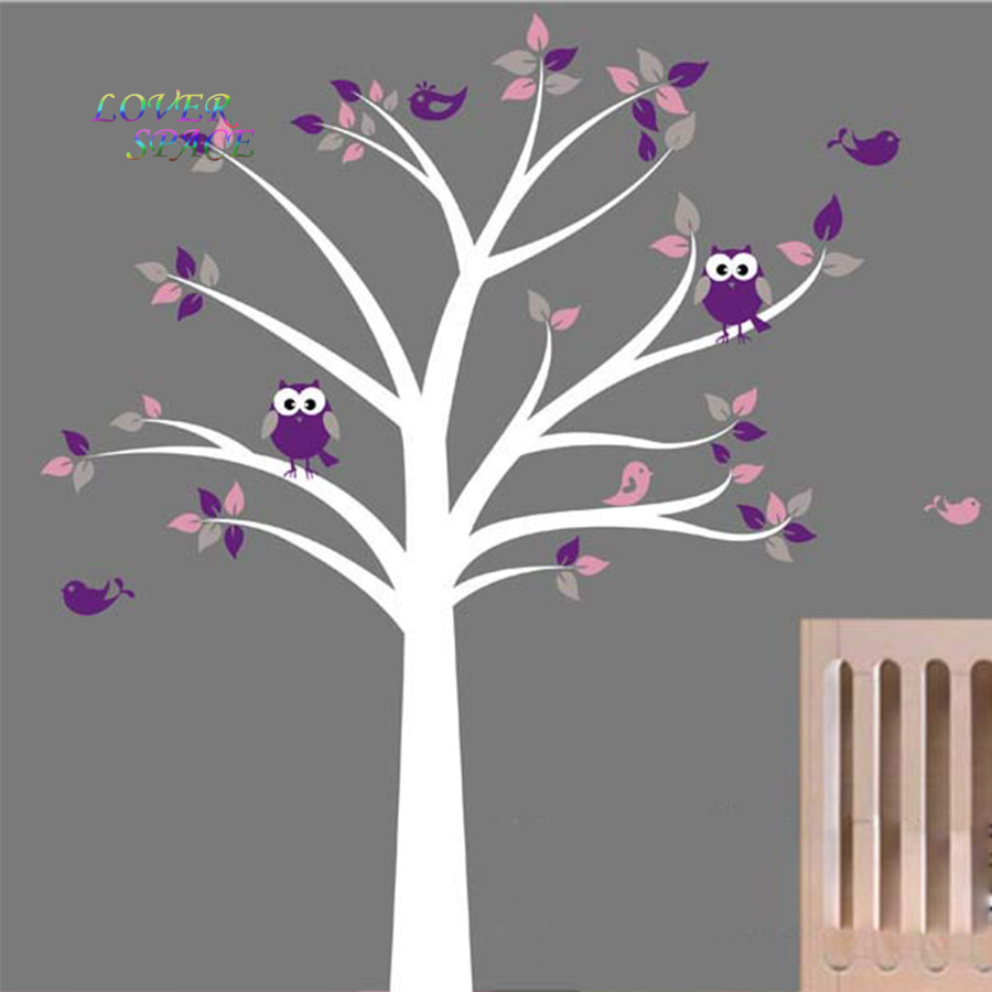 Cot Side Owl Tree Birds Removable Wall Stickers Kids Nursery Decor Vinyl Decals Art Decorative Sticker SIZE 130x150cm&175x205cm