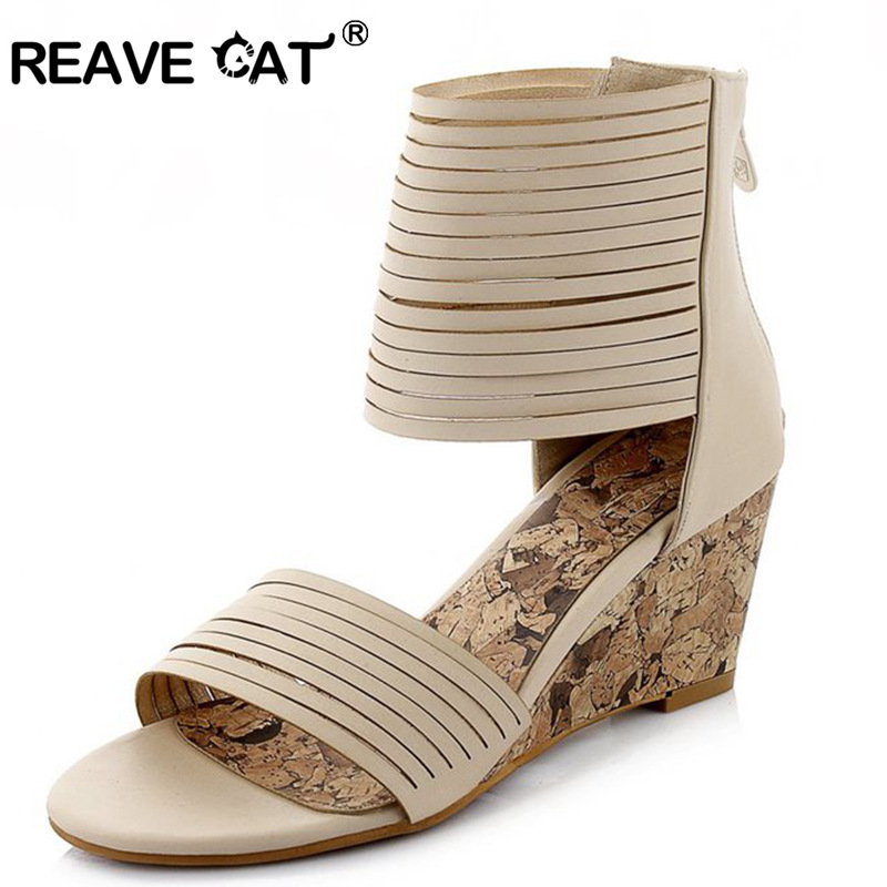 REAVE CAT New fashion brand Summer style Ladies Woman sandals Wedges Zipper Solid PU Beige Black Sweets Party shoes QL5325