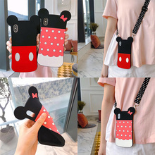 cute 3d cartoon wave shoulder strap silicone case for iphone 7 8 6s 6 plus XS MAX XR X case cover fashion soft protective phone недорого