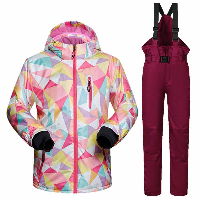 Детский лыжный костюм высокого качества, ветронепроницаемый, водонепроницаемый, цветной, для девочек, для мальчиков, сноуборд, зимняя куртка и штаны, зимнее платье