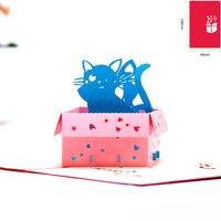 팝업 생일 카드 아이 고양이 수제 감사합니다 카드 3D 인사말 카드 기념일 축하 얻을 빨리 잘 10 pcs