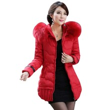 2016 New Winter Women Hooded Cotton Down Jacket Clothes Coat Fur Coats Manteau Femme Woman