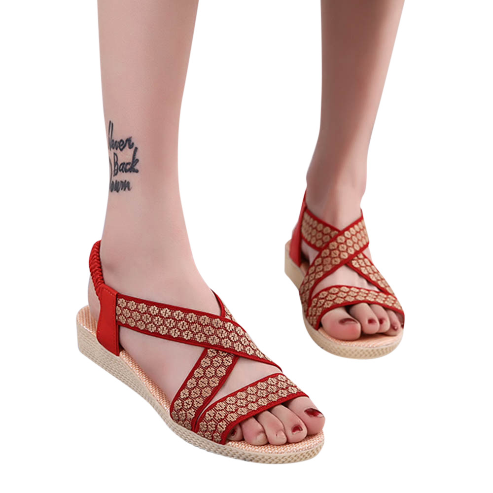 Summer Fashion Female Sandals Woman Cross Flat Shoe Comfortable Flat Sandals Gladiator Roman Shoes Plus Size 35-42