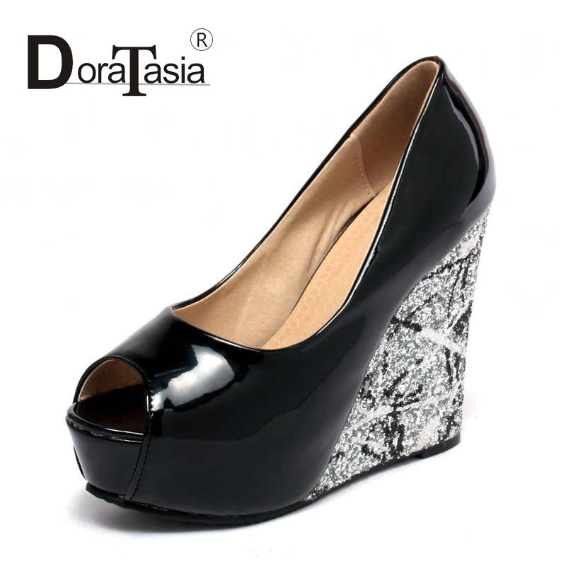 ФОТО 2016 brand new sexy peep toe thick platform women party shoes fashion bling high heels wedges lady dating pumps