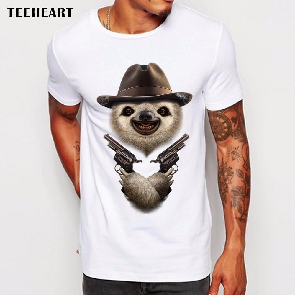 Teeheart Men T Shirts Funny sloth cowboy and gun Design Short Sleeve Casual Tops Hipster T-Shirt Cool Tee La757 blow up sloth costume