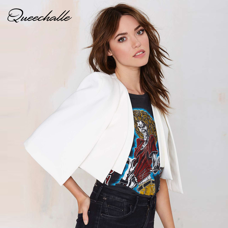 Queechalle XS-XXL 6 Size Women Fashion Jacket Autumn Ladies White & Black Short Cloak Cape Blazer Female Casual Suit Coat