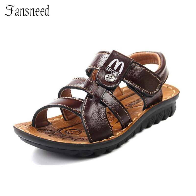 Детские сандалии моды м Алфавит мальчиков новые кожаные сандалии летние сандалии призвание подходит для детей качественная обувь