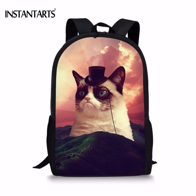 ab1197fd4de2 INSTANTARTS Funny 3D Animal Nebula Angry Grumpy Cats Printed Girls Boys  Schoolbags Casual Children Book Bags Teenager Backpacks