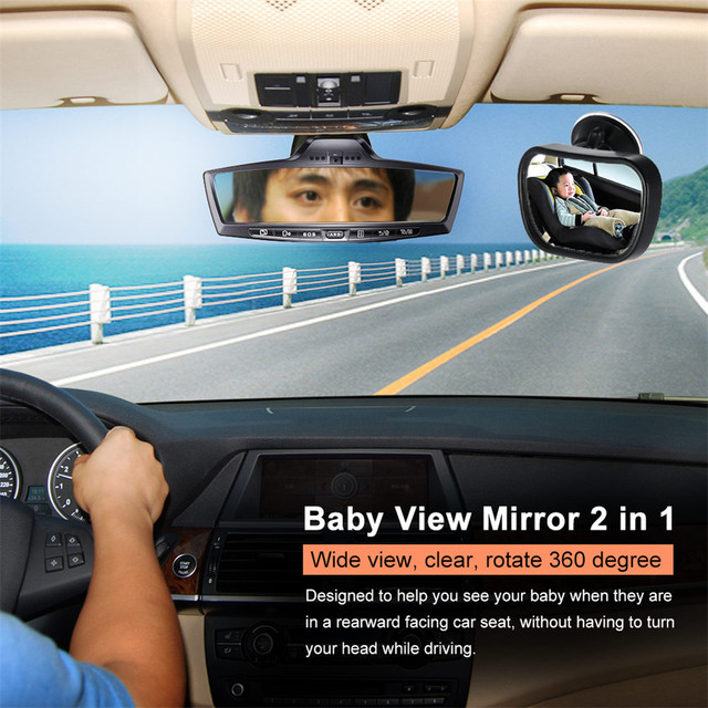 2 in 1 Mini Safety Car Back Seat Baby View Mirror Adjustable Baby Rear Convex Mirror Car Baby Kids Monitor  5