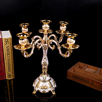 Candle Holder 5-arms Shiny Golden Plated Candelabra Romantic And Luxury Metal For Wedding Events Or Party Decor