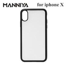 MANNIYA için iphone X XS Boş Süblimasyon TPU PC kauçuk telefon kılıfı Alüminyum ekler ile ve bant 10 adet/grup