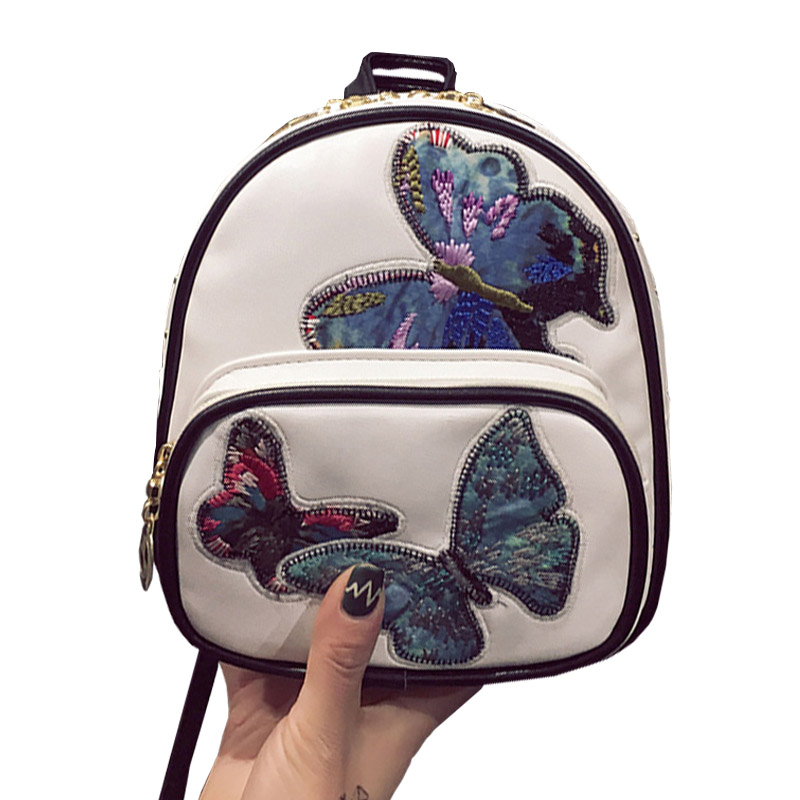 Small Butterfly Embroidery Backpack For Girl 2017 Vintage PU Leather School Bag Women Backpacks Mochila Female