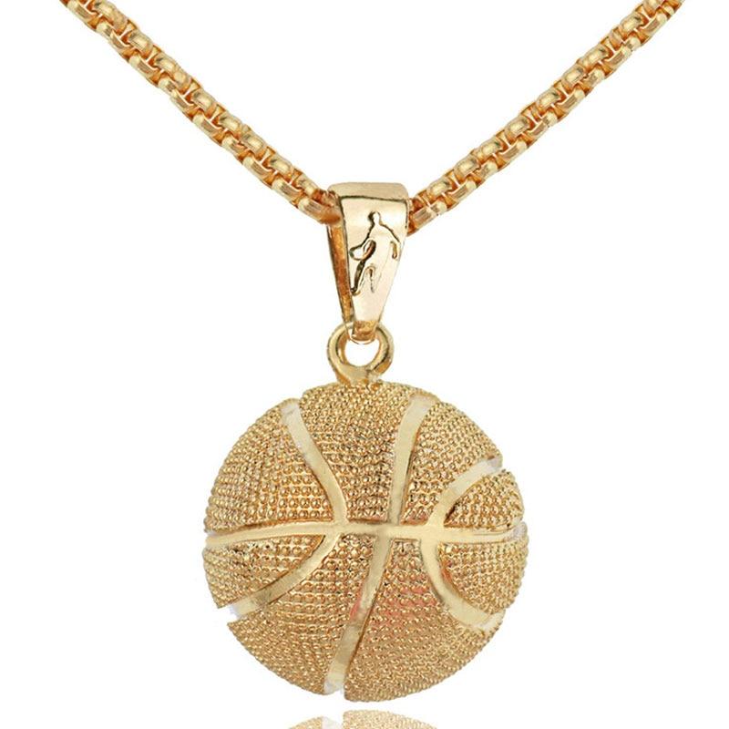 Basketbol Kolye Kolye Altın Paslanmaz Çelik Zincir Kolye Kadın Erkek Spor Hip Hop Takı Basketbol Severler Hediye