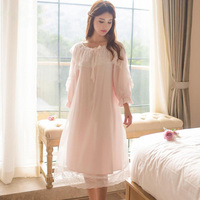 Nightgowns Sleepshirts 2017 Nightgown Sleep Lounge Nightdress Home Dress Lace Nightwear Sexy Sleepwear Female Y04