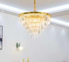 цена на American light luxury chandelier restaurant lamp modern crystal lamp living room lamp round villa lamp