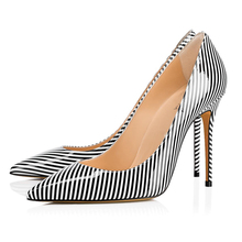 Big Brand Vertical Stripe High Heel Woman Pumps Pointed Toe Slip On Quality Plus Size Hot Free Shipping Wholesale