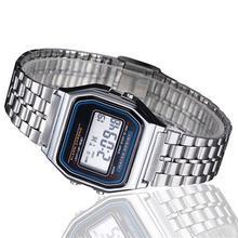 купить Alipower Vintage Womens Men Stainless Steel Digital Alarm Stopwatch Wrist Watch Men's Retro Electronic Relogio Masculino Femme дешево