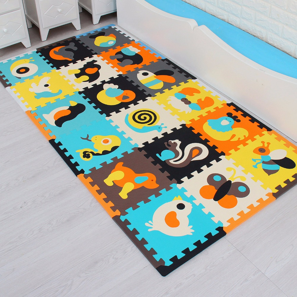 18pcs with long edges Children's foam Carpet baby game mat foam flooring Eva jigsaw Puzzle mat baby mosaic crawling toys tiles