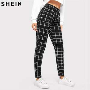 Image 4 - SHEIN Black Plaid Mid Waist Skinny Carrot Trousers Autumn Women Casual Slim Fit Vertical Women Pencil Streetwear Pants
