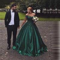Emerald Green Satin Evening Dresses Ball Gown Lace Sweetheart Evening Gowns 2019 Long Robe De Soiree Floor Length Formal Dress