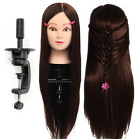 26 Salon Hairdressing Training Mannequins Dool Head Dark Brown Hair Hairdressing Practice Hair Styling Clamp Holder